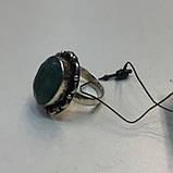 Изумруд кольцо овальное с натуральным камнем изумруд в серебре. Кольцо с изумрудом. Размер 17-17,5. Индия, фото 2
