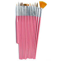 Набір кистей для манікюру 15 шт Starlet Professional рожеві