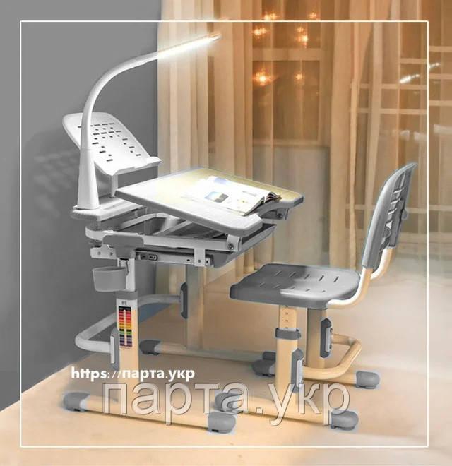 Полный комплект Парта и стул трансформеры + лампа + подставка, 3 цвета