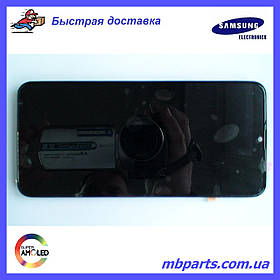 Дисплей с сенсором Samsung M205 Galaxy M20 чёрный,  GH82-18682A, оригинал, с рамкой!