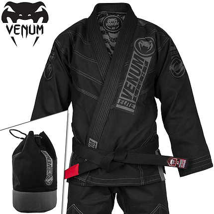 Кімоно для джиу-джитсу Venum Elite Light 2.0 BJJ GI Black Black, фото 2