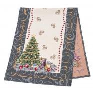Дорожка  новогодняя гобеленовая, Новогодний печворк, 37х100 см, Эксклюзивные подарки, Новогодний текстиль