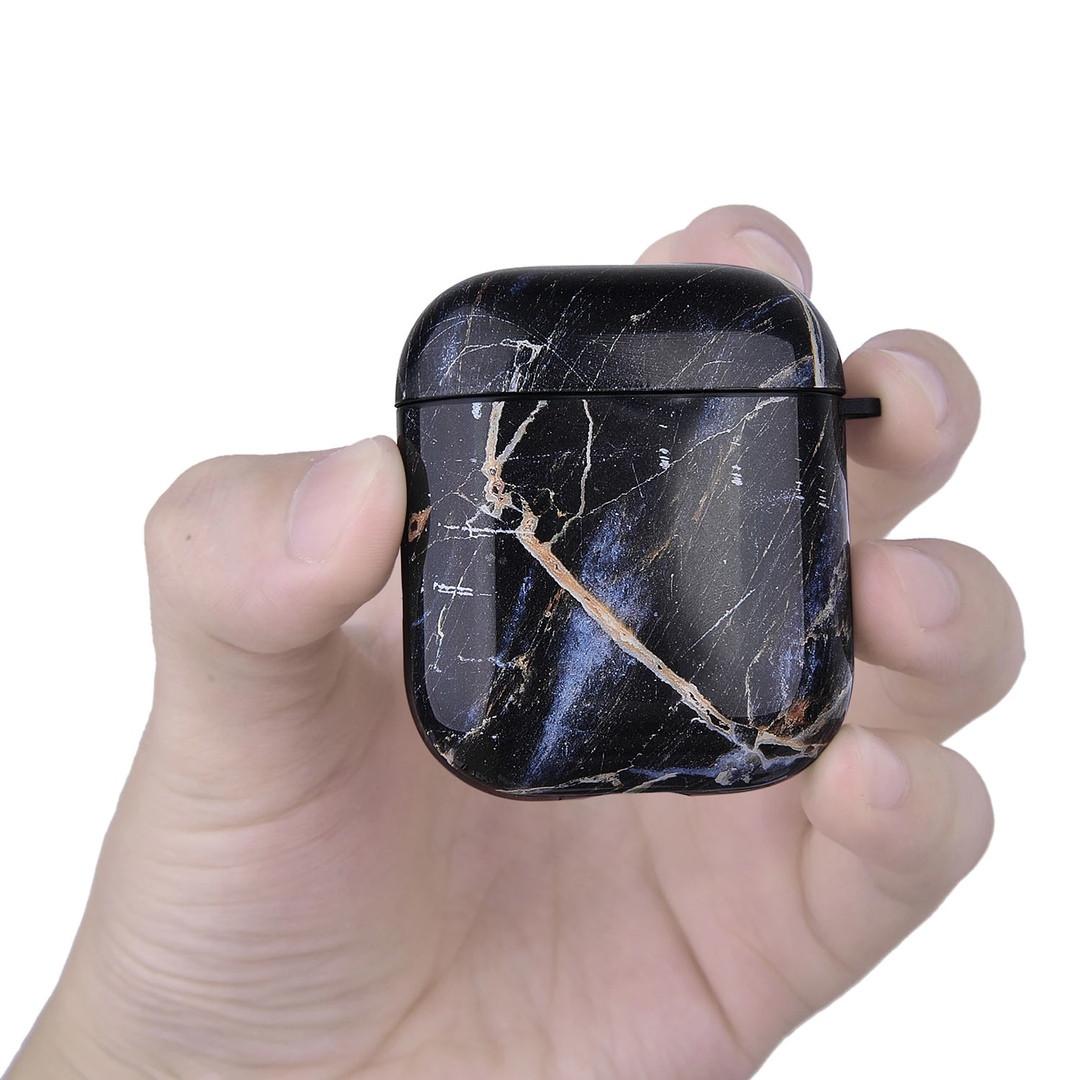 Противоударный чехол для Airpods Apple Черный мрамор (глянец)