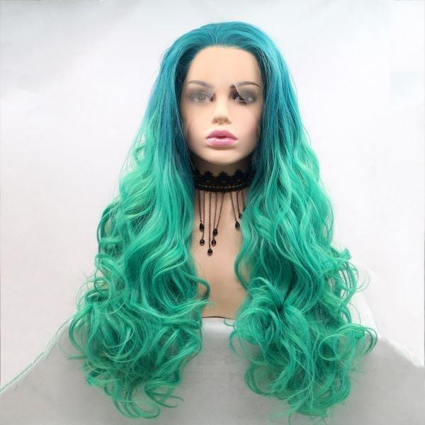 Длинный кучерявый парик цвета зеленый градиент