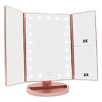 Тройное зеркало Led miror - Розовое