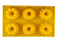 Форма силиконовая цветы ассорти с втулкой на планшете, фото 1