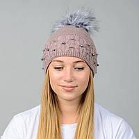 Вязаная женская шапка Nord с меховым помпоном Какао (wpnfibi04)