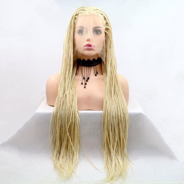 Длинный парик блонд омбре из афро косичек с светлыми корнями
