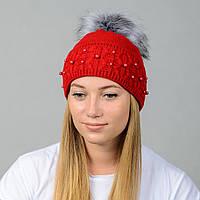 Вязаная женская шапка Nord с меховым помпоном Красный (wpnfibi08)