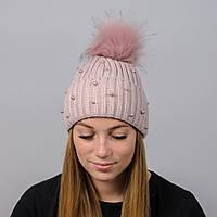 Вязаная женская шапка Nord с меховым помпоном Пудра (wpnelza11)