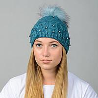 Вязаная женская шапка Nord с меховым помпоном Изумруд (wpnfibi09)