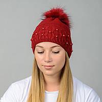 Вязаная женская шапка Nord с меховым помпоном Вишня (wpnfibi13)
