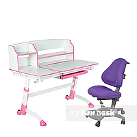 Комплект подростковая парта для школы Amare II Pink + ортопедическое кресло Bravo Purple FunDesk