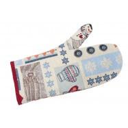 Кухонная рукавица, Новогодний печворк,  размер 15х25 см, Оригинальные подарки, Домашний текстиль