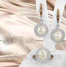 Серебряный набор с белым жемчугом Лусия