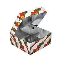Коробка новогодняя подарочная самосборная картонная квадратная № 15. Размер 25 см х 25 см высота 8 см.