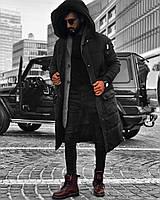 """Пальто мужское зимнее удлиненное """"Open"""" с глубоким капюшоном черное - S, M"""