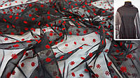 Ткань сетка черная с красными цветами, фото 1