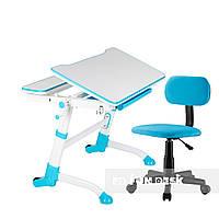 Комплект регулируемая парта Volare Blue + компьютерное кресло SST7 Blue  FunDesk