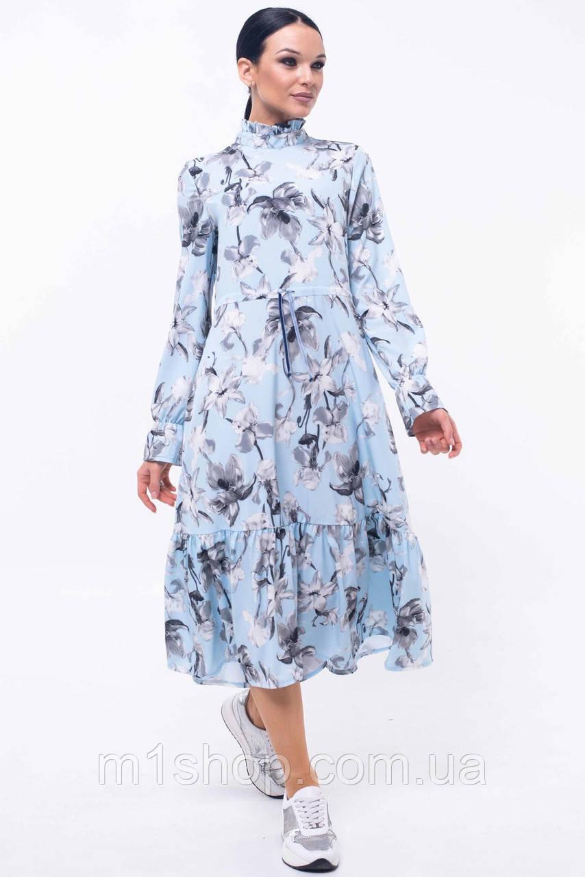 Женское цветочное платье-миди под горло (Рут ri)