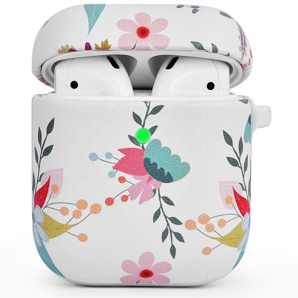 Противоударный чехол для Airpods Apple кожа с рисунком (Цветы на белом фоне)