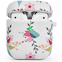 Противоударный чехол для Airpods Apple кожа с рисунком (Цветы на белом фоне), фото 1