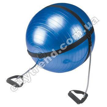 Фитбол (мяч для фитнеса) PS гладкий 65 см с эспандерами