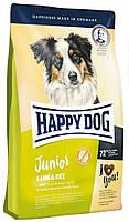Сухой безглютеновый корм юниоров средних крупных пород собак Happy DogJunior Lamb Rice Хэппи Дог