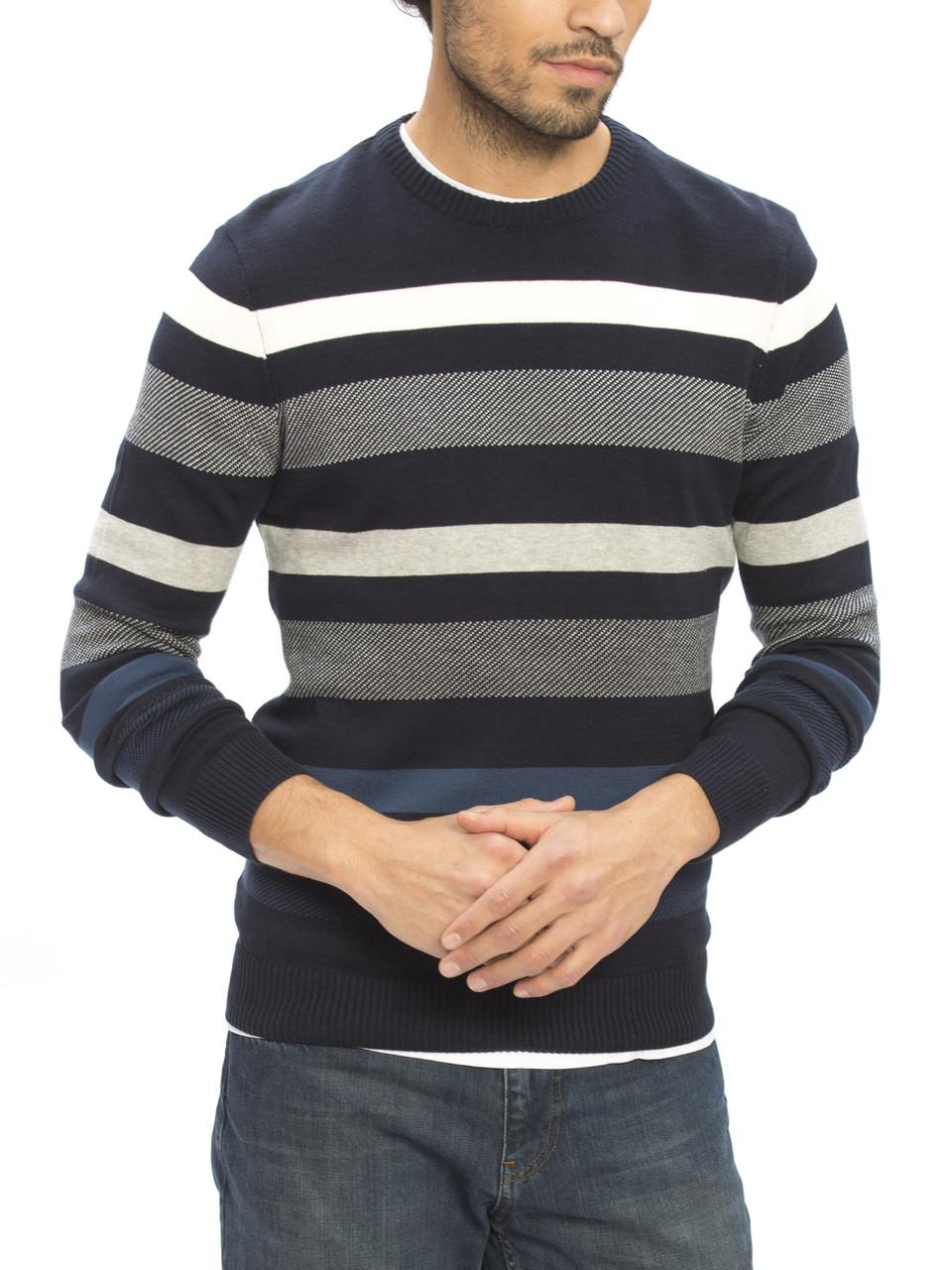 Синий мужской свитер LC Waikiki / ЛС Вайкики в серо-белую полоску