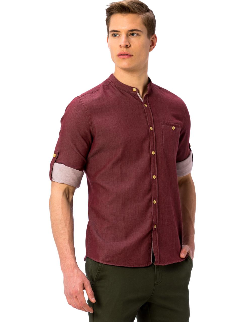 Бордовая мужская рубашка LC Waikiki / ЛС Вайкики с воротником-стойкой