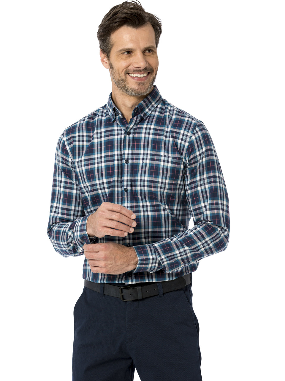 Синяя мужская рубашка LC Waikiki / ЛС Вайкики в бело-бирюзовую клетку, с карманом на груди