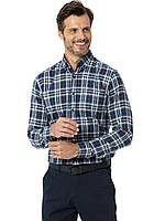 Синяя мужская рубашка LC Waikiki / ЛС Вайкики в бело-бирюзовую клетку, с карманом на груди, фото 1