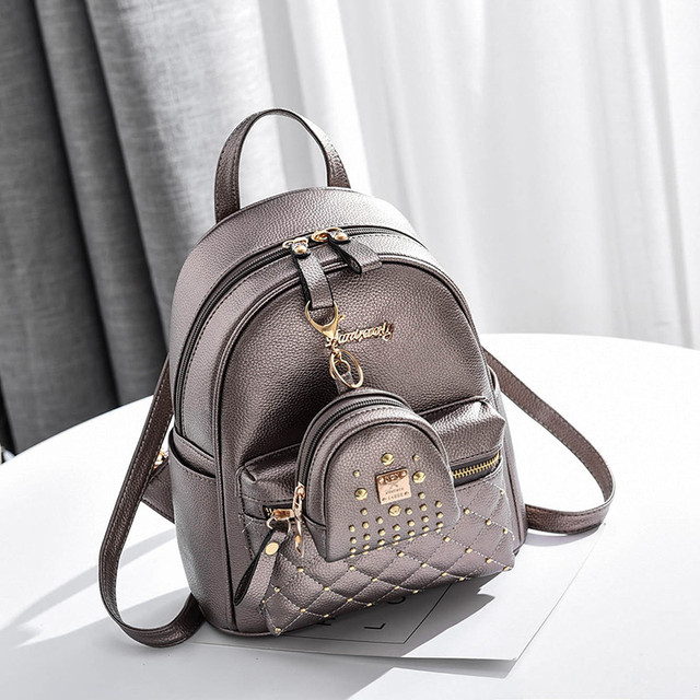 Рюкзак женский с брелком бронзовый