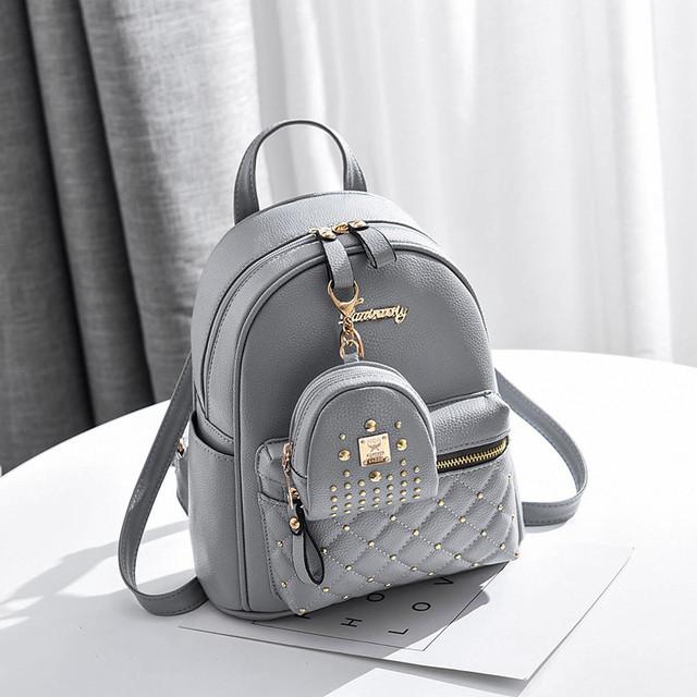 Рюкзак женский с брелком серый