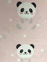 Турецкая хлопковая ткань» Панды на розовом ширина 2,40 м