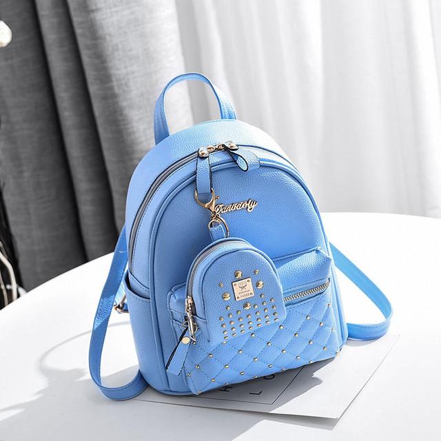 Рюкзак жіночий з брелоком блакитний