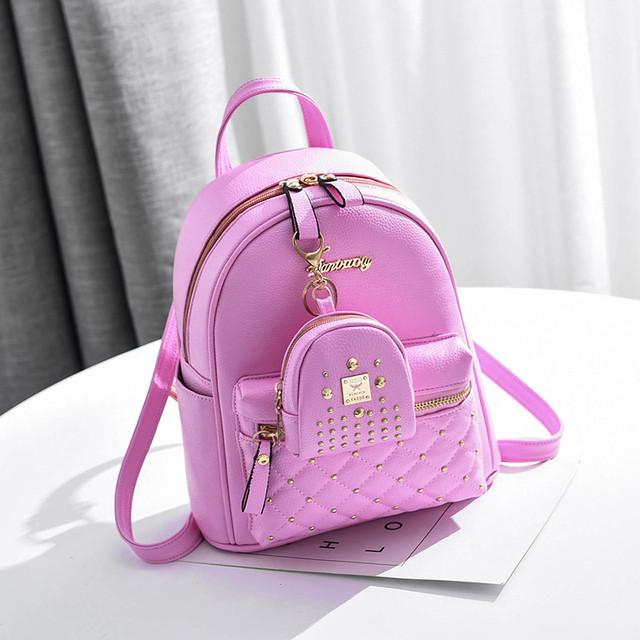Рюкзак женский с брелком розовый