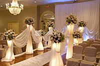 Оформление цветами, украшение зала тканями, оформление шарами и декорациями