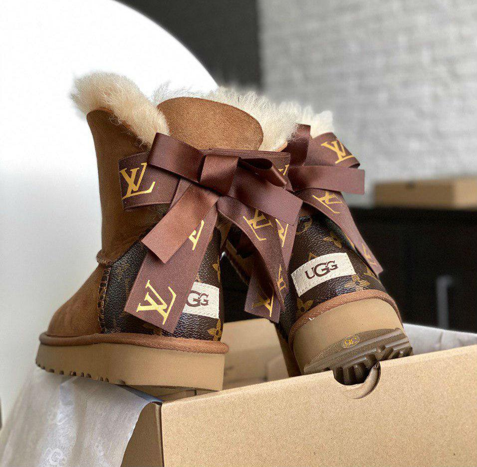UGG Mini Bailey Bow Louis Vuitton Chestnut | полностью натуральные