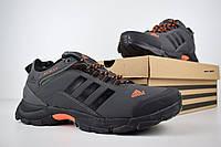 Мужские зимние кроссовки в стиле Adidas Climaproof низкие серые с оранжевым