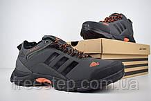 Чоловічі зимові кросівки в стилі Adidas Climaproof низькі сірі з помаранчевим