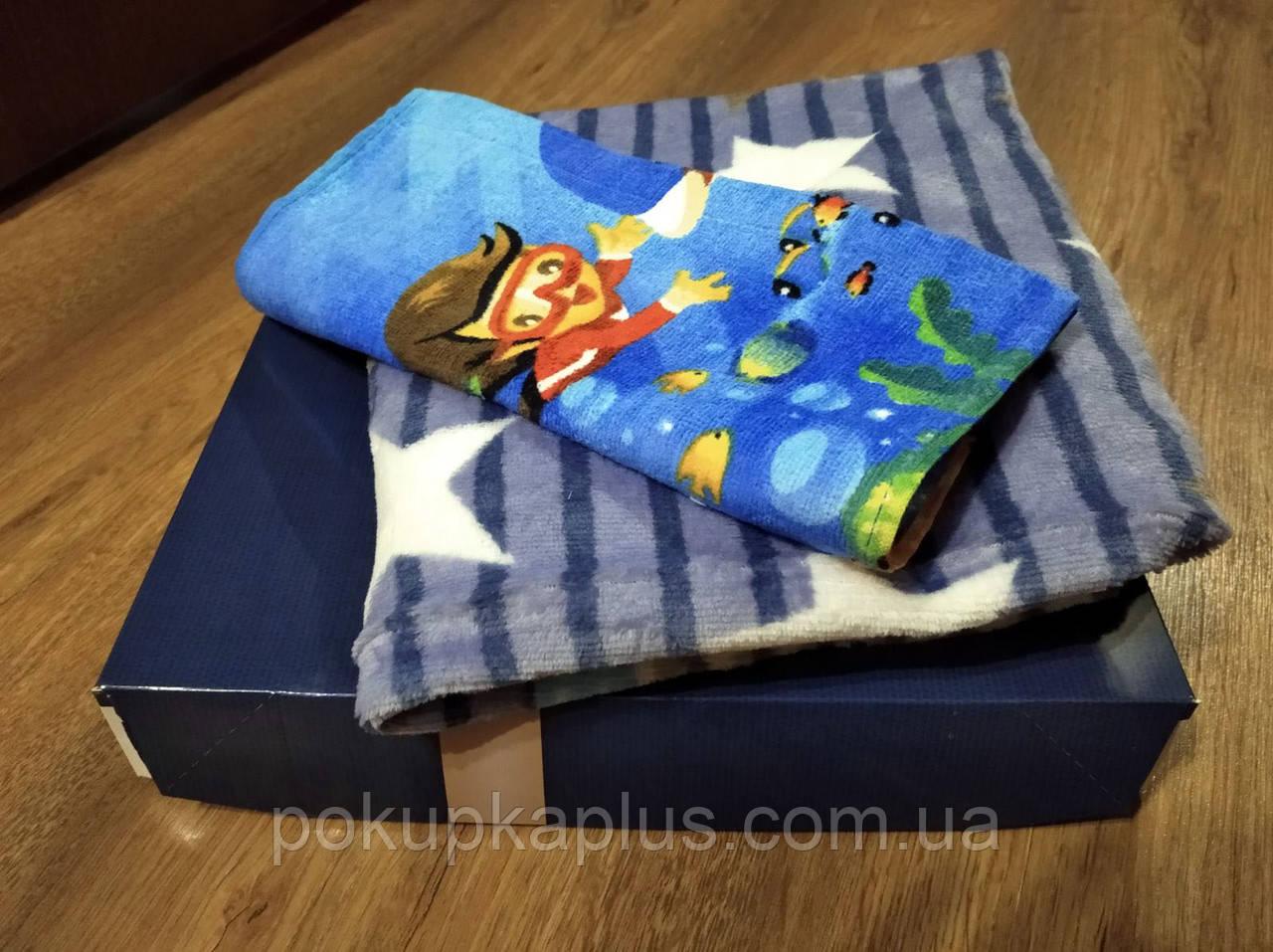 Плед детский + полотенце микрофибра 105х105 в подарочной коробке