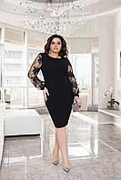 Красивое платье прямого кроя Черный Большого размера