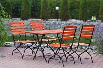 Комплект мебели Бриджит прямоугольный стол + 4 стула с подлокотниками Тик