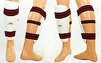 Защита голени для тхэквондо WTF (PU, р-р M-XL, белый, крепление резиновая лента)