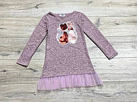 Теплое ангоровое платье для девочек. Паетки -перевертыши. ( Полномерные). 134- 152 рост.