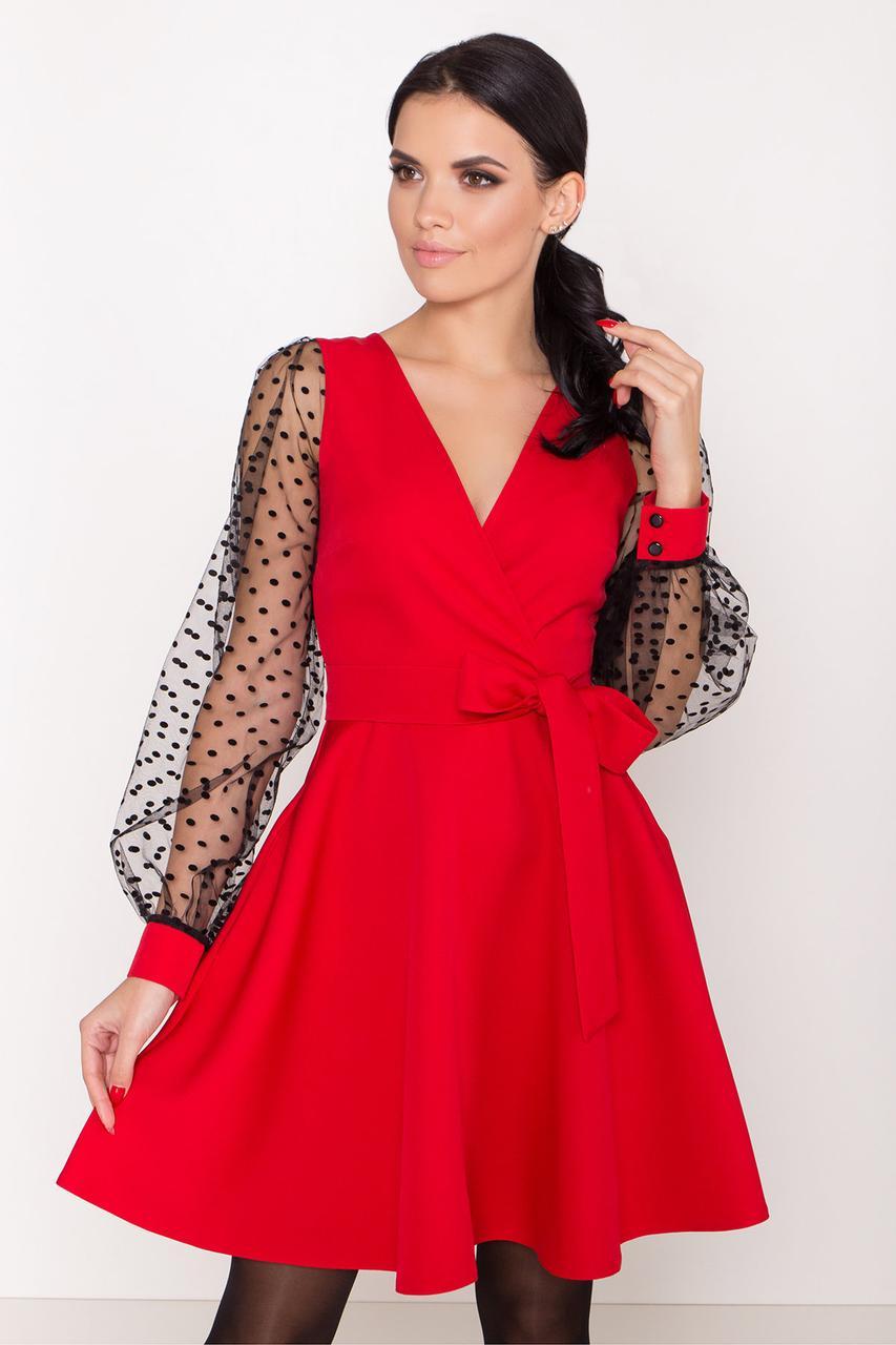 Эффектное нарядное платье Джелла-1 с рукавами из сетки горох