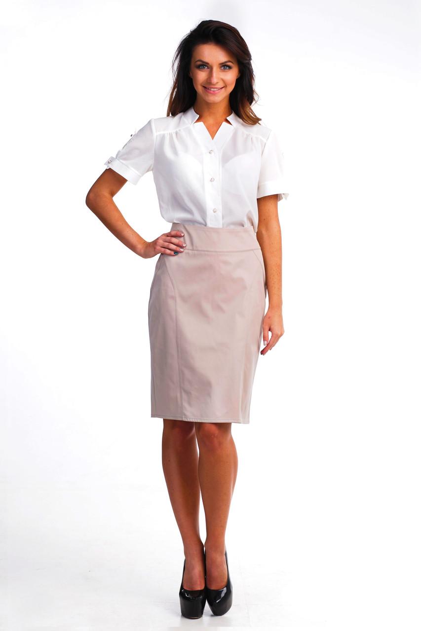Бежевая юбка-карандаш для офиса
