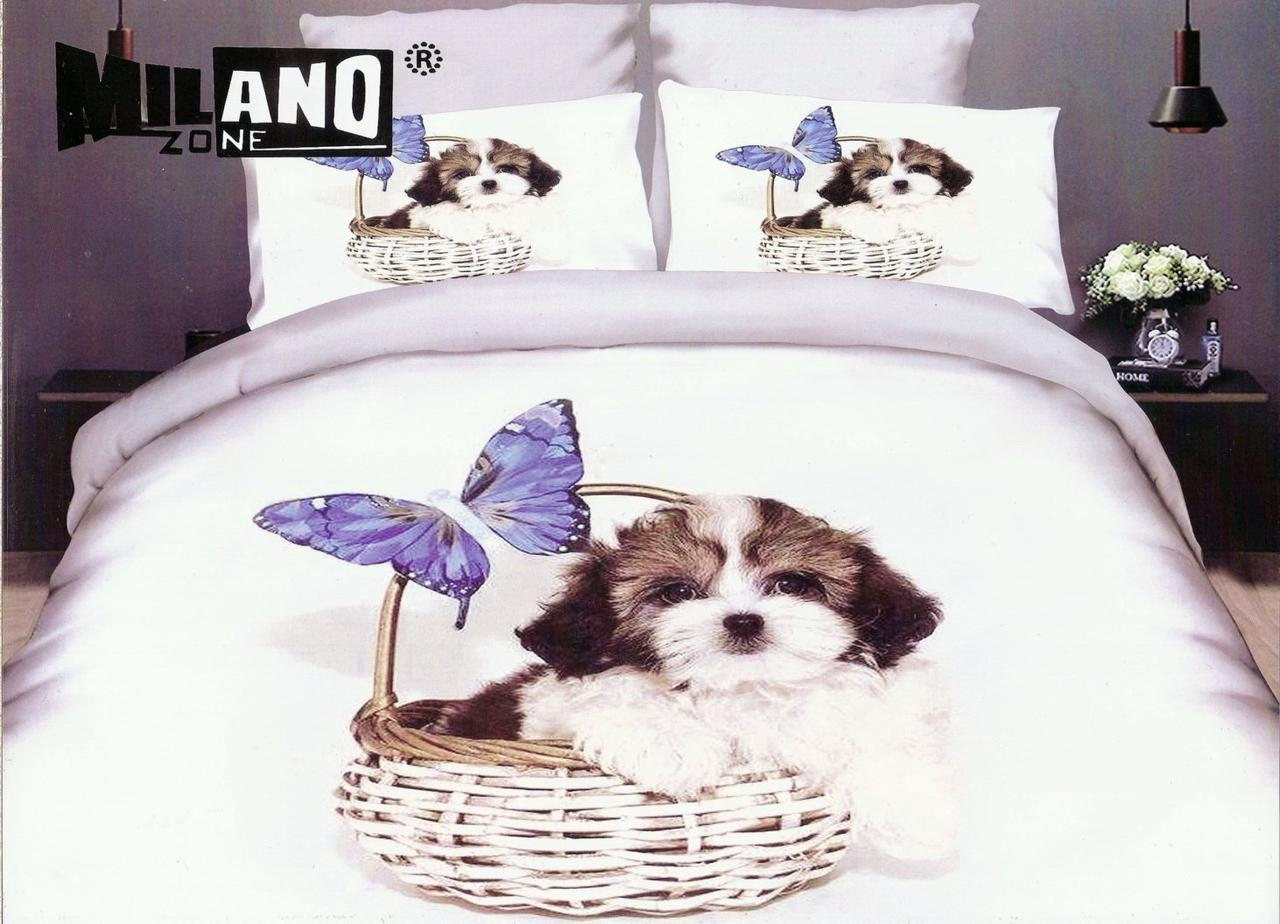 3D Постельное белье Milano Zone  рисунок щенок в корзике полуторка