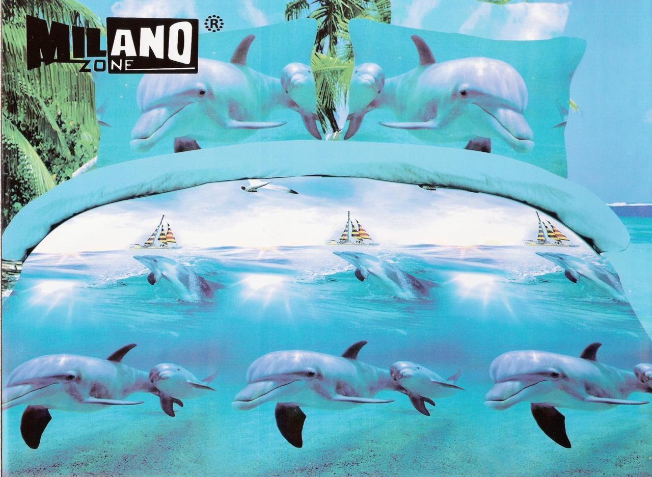 3D Постельное белье Milano Zone  рисунок дельфин полуторка